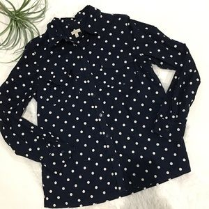Talbots Navy Blue Polka Dot Top Size Medium